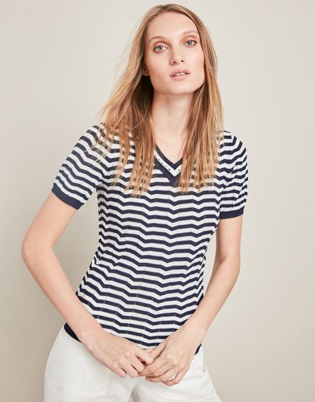Jersey manga corta rayas azules