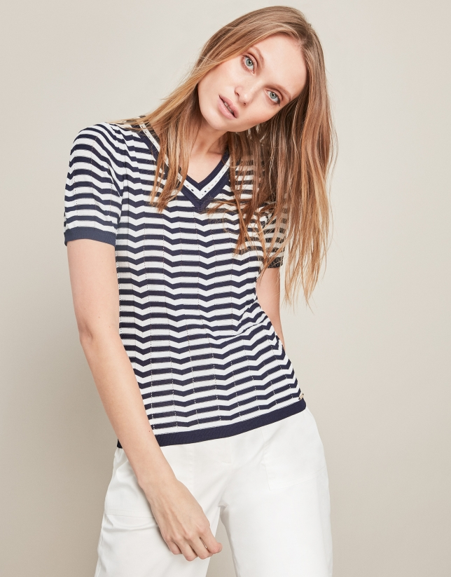 Blue short-sleeved striped sweater