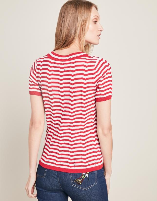 Jersey manga corta rayas rojas