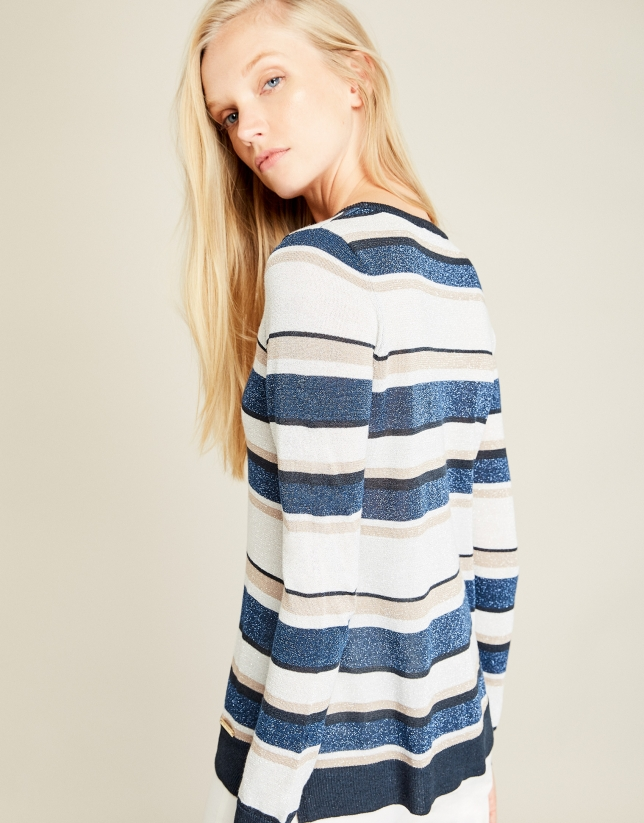 Blue striped sweater with glitter