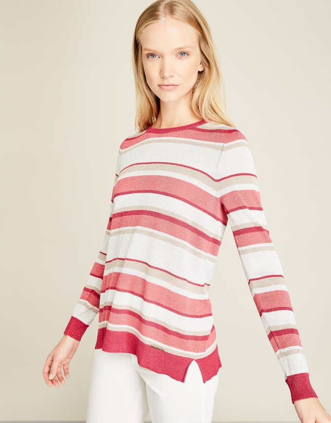 Red striped sweater with glitter