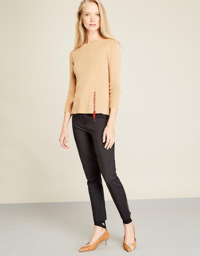 Beige ethnic style sweater