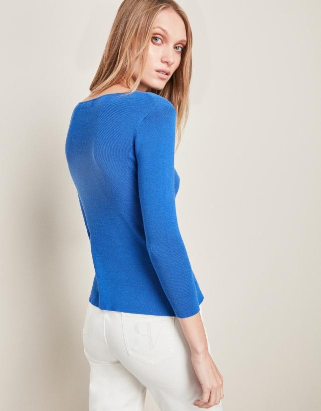 Blue ethnic style sweater