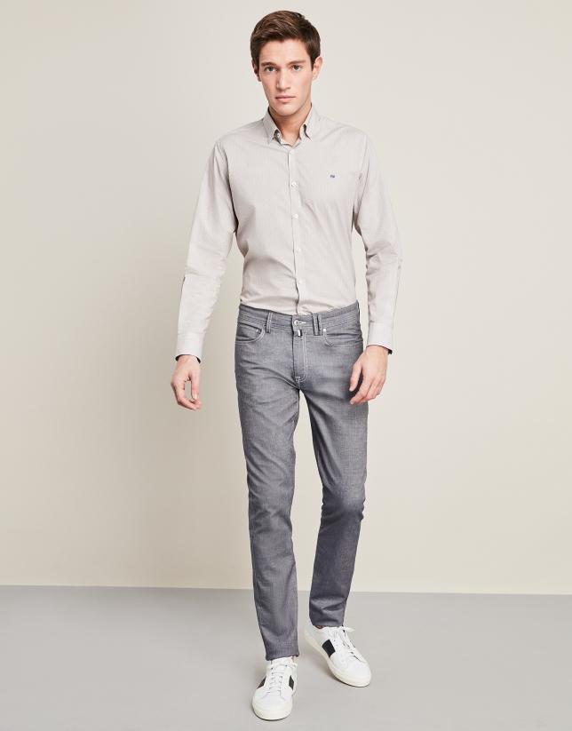 Pantalon cinq poches en lin/coton bleu indigo