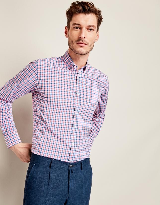 Pantalon en lin bleu foncé