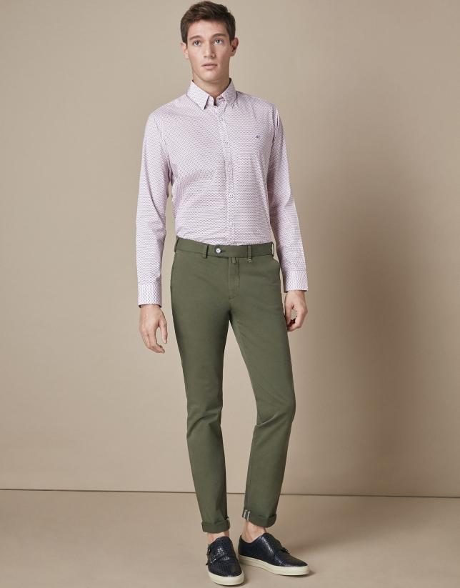 Pantalón chino algodón caqui