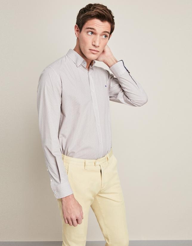 Pantalón en lino/algodón amarillo