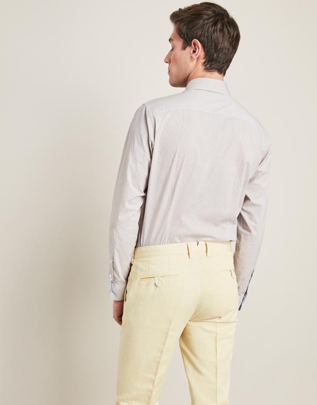 Pantalon En Lino Algodon Amarillo Hombre Roberto Verino