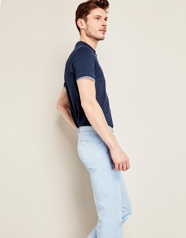Pantalón en lino/algodón azul claro
