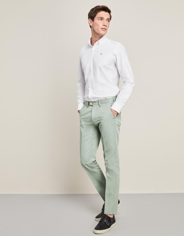 Pantalón en lino/algodón verde agua