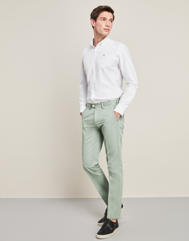 Pantalon En Lino Algodon Verde Agua Hombre Roberto Verino