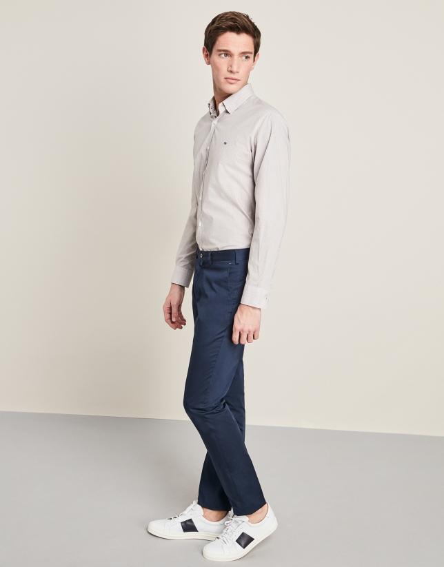 Pantalon de costume en coton bleu marine