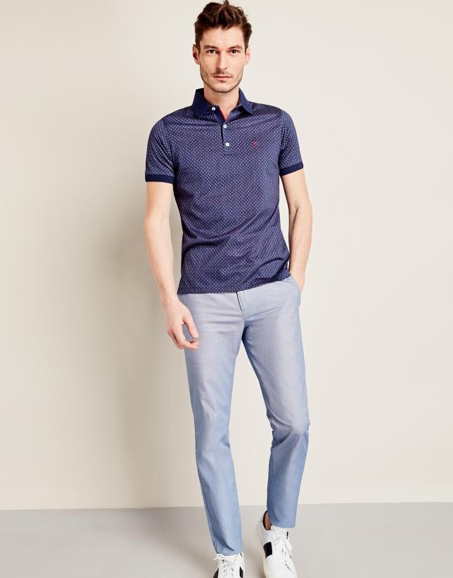 Pantalon structuré en coton bleu