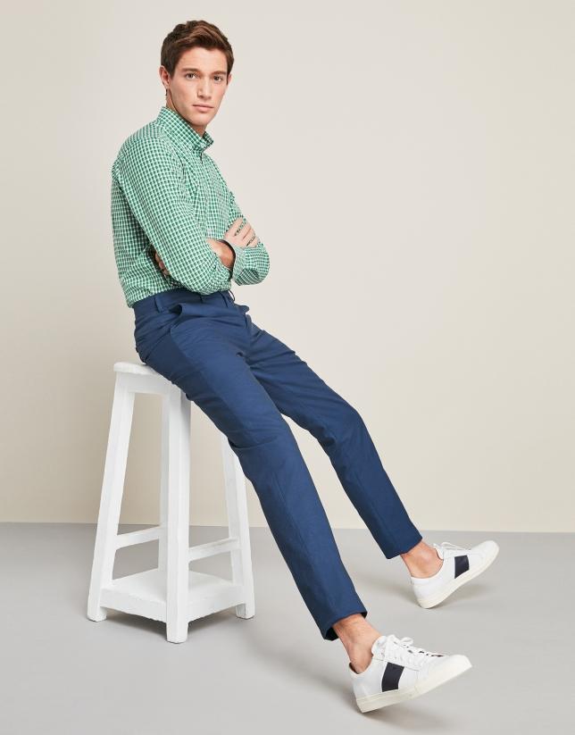 Pantalon structuré en coton bleu marine