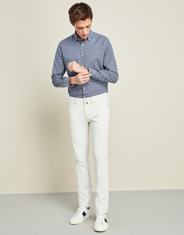 Pantalón cinco bolsillos blanco roto