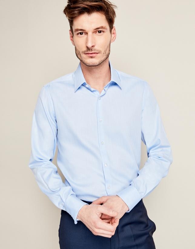 Chemise de costume à chevrons en bleu ciel