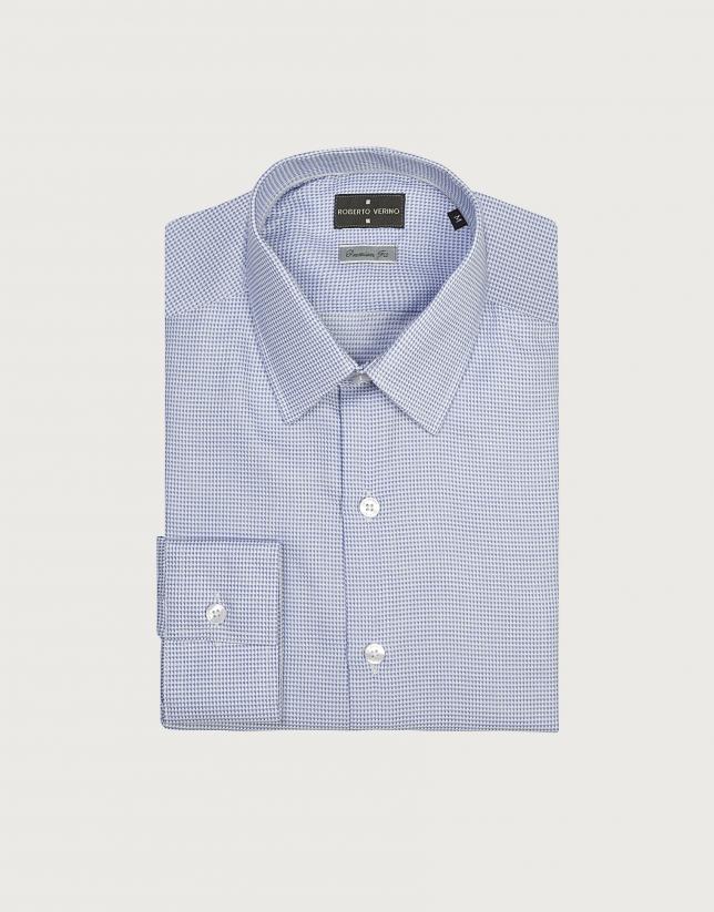 Chemise de costume en coton structurée en bleu