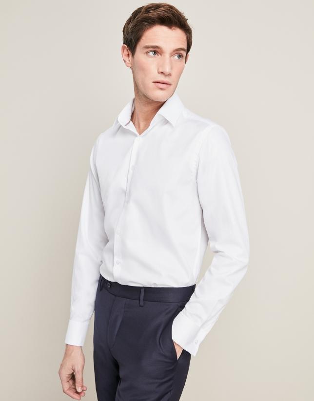 Camisa vestir estructura cuadros blanco