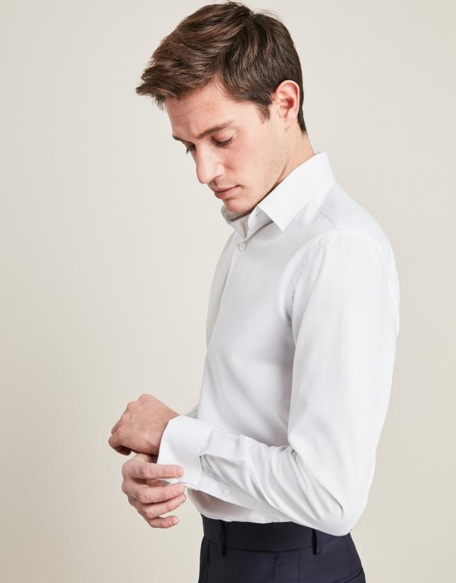 White checkered structured dress shirt