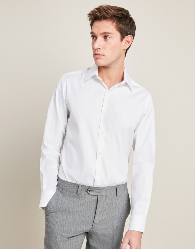 White structured cotton dress shirt