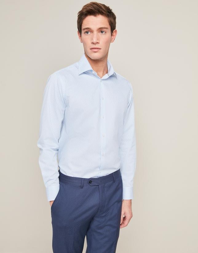 Chemise de costume à rayures en bleu/blanc