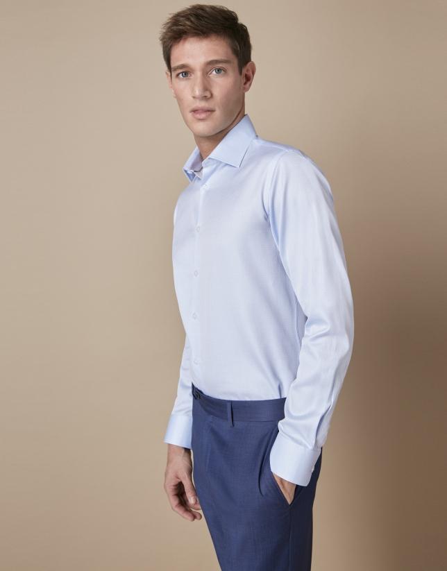 Chemise de costume structurée bleu ciel en coton