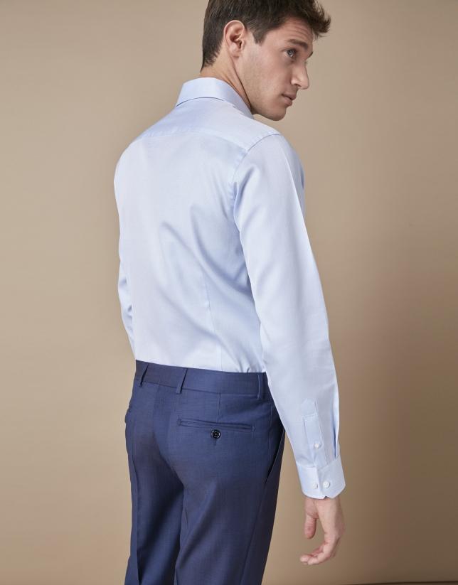 Camisa vestir algodón estructura celeste