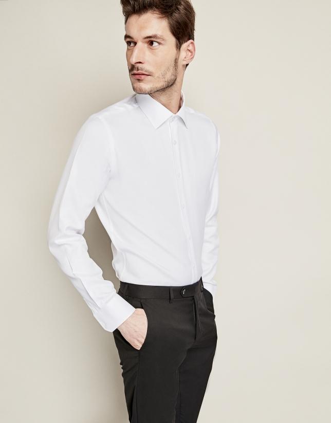 Camisa vestir algodón falso liso blanco