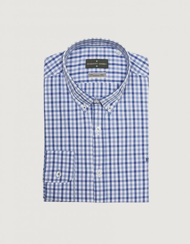 Chemise décontractée en coton à carreaux bleus