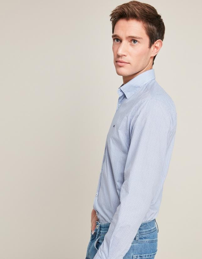 Camisa sport estampado floral tonos azules