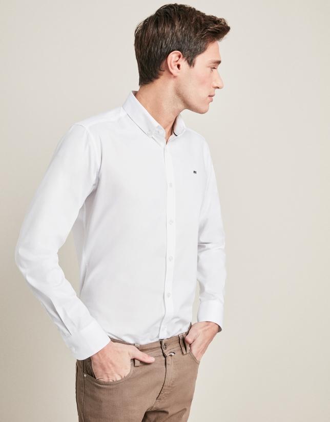 Chemise décontractée en Oxford blanc