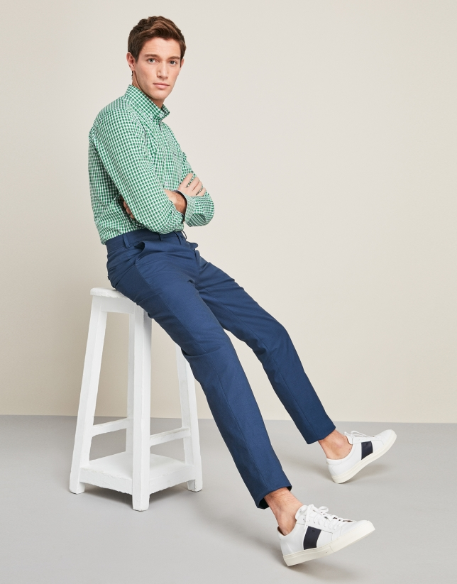 Camisa sport cuadros verde/azul marino