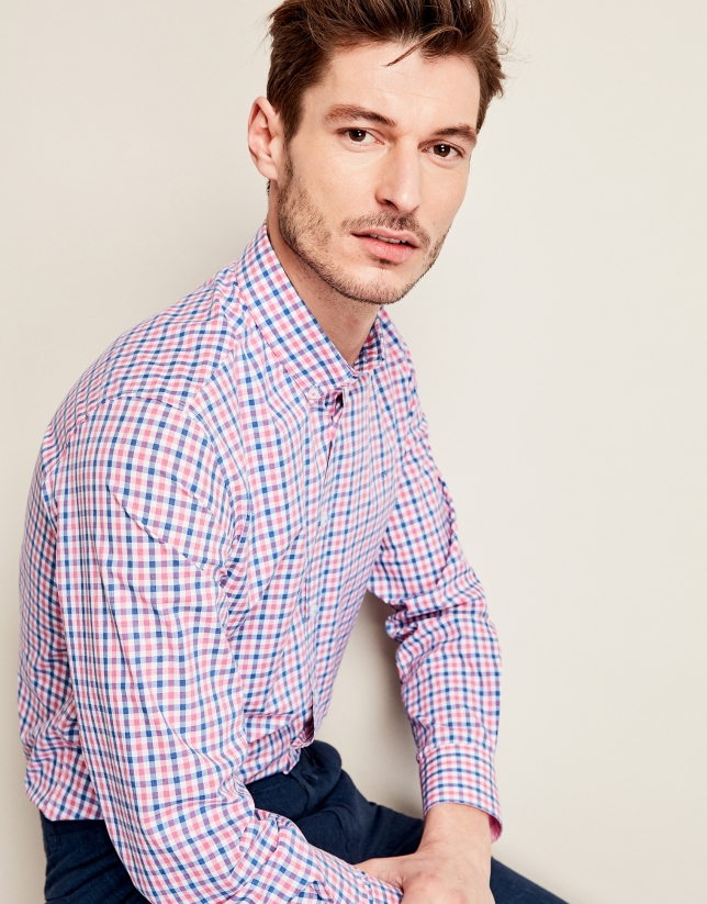 Blue/pink checkered sport shirt