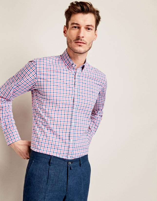 Blue/pink checkered sport shirt