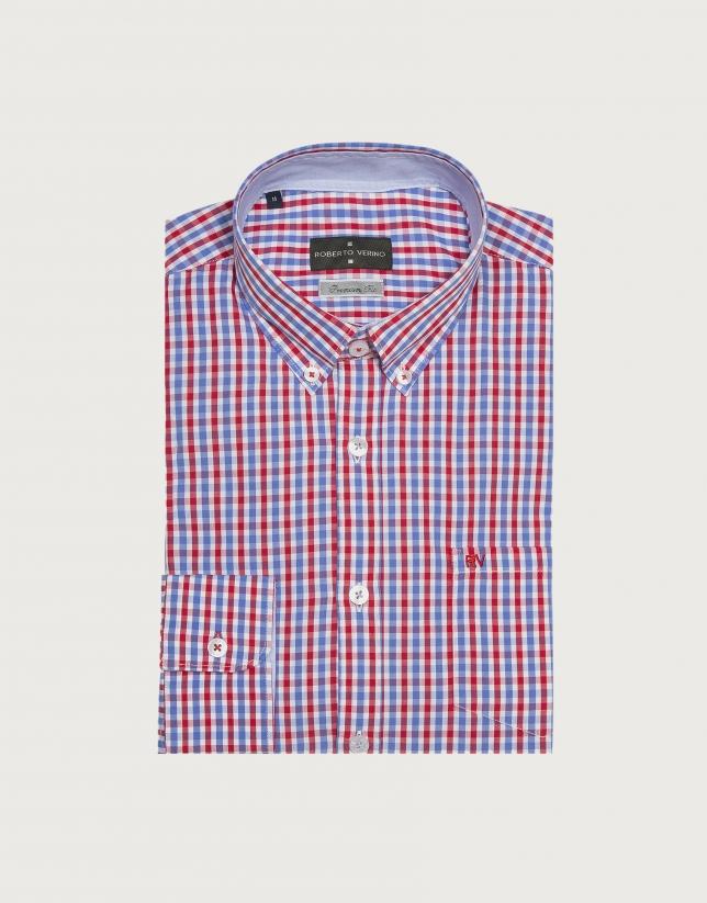 Camisa sport cuadros azul/rojo