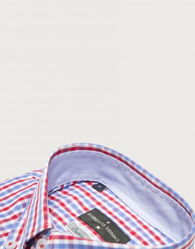 Chemise décontractée à carreaux en bleu/rouge