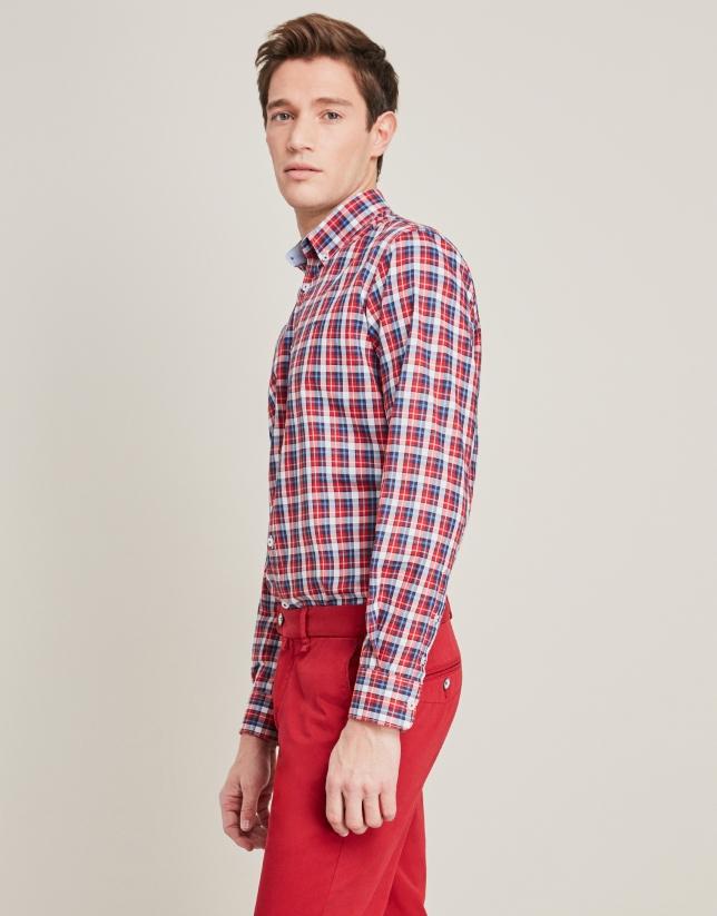 Red/blue checkered sport shirt