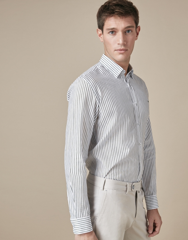 Khaki thin-striped sport shirt