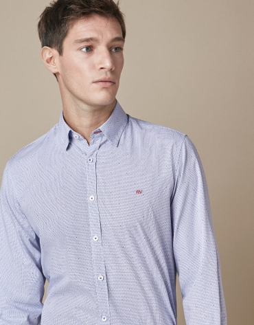 Blue checkered sport shirt with red design
