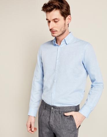 Camisa sport lino celeste con trabajado geométrico