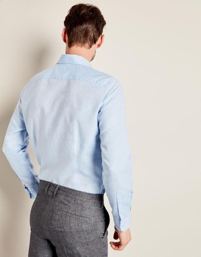 Light blue linen sport shirt with geometric design