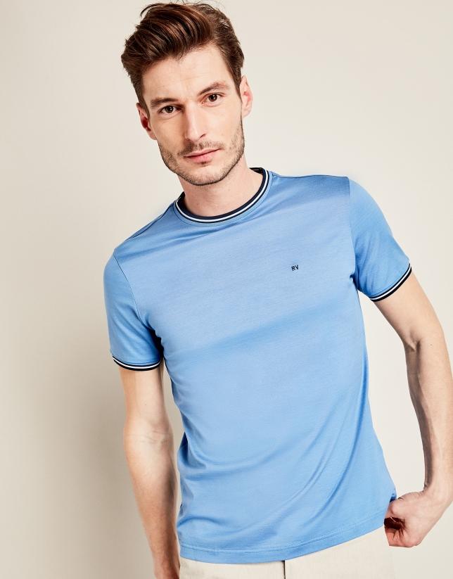 T-shirt en piqué bleu roi