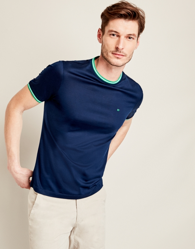 Camiseta algodón marino