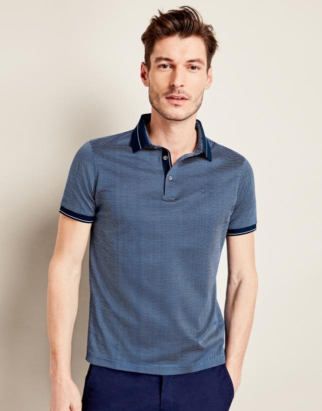 Navy blue jacquard t-shirt