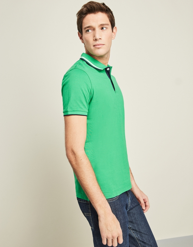 Green and blue piqué t-shirt