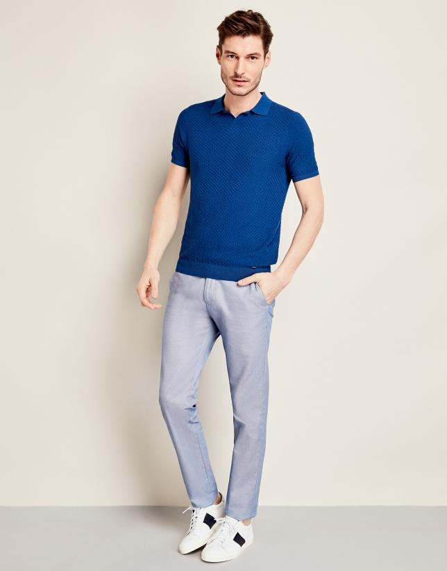 Polo tricot con estructura azulón