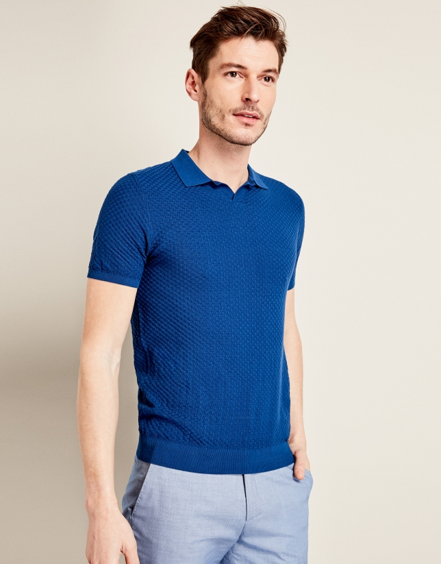 Blue structured tricot t-shirt