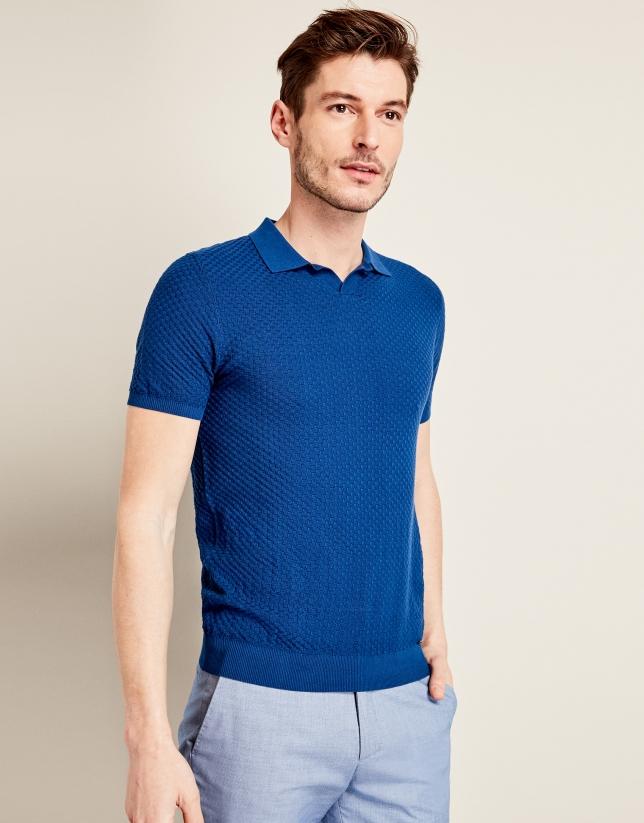 Polo en tricot structuré bleu roi
