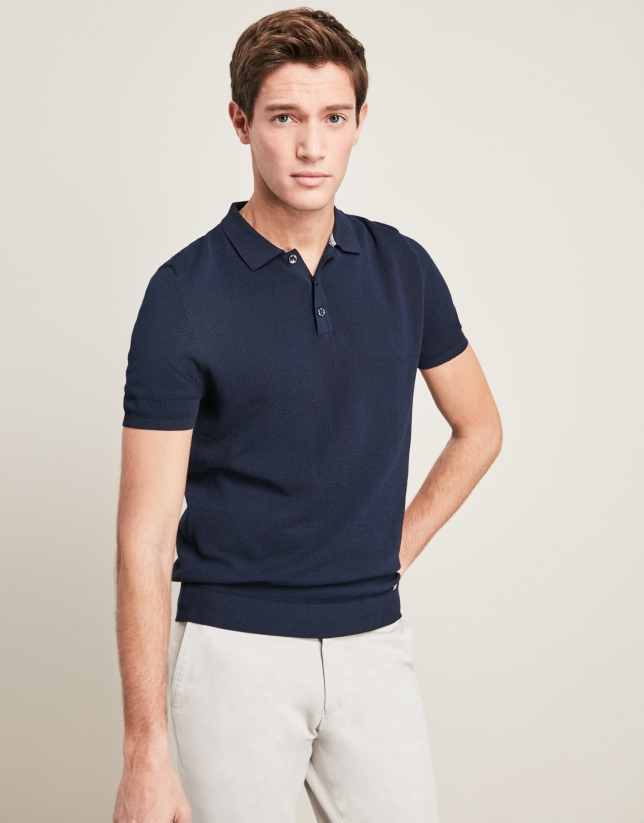 Navy blue, pearl stitched, structured tricot t-shirt