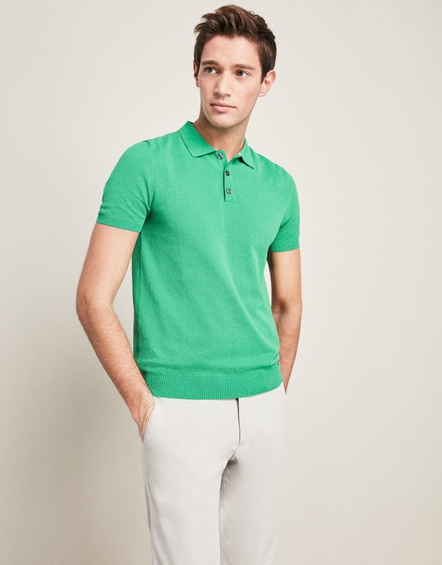 Green, pearl stitched, tricot structured t-shirt